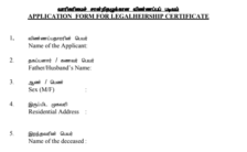 Application Form For LegalHeirship Certificate